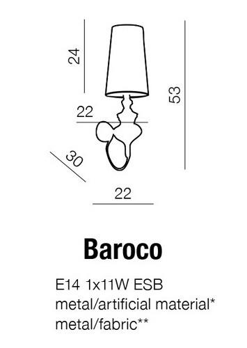 Baroco AB 7121-1S Black Kinkiet AZZARDO