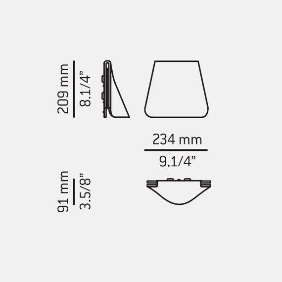 Estiluz PLEC A-3060 Lampa Ścienna szara