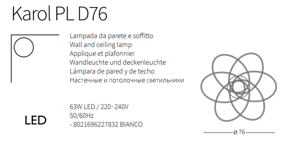 Ideal Lux Karol PL D76 Plafoniera nowoczesna LED w kolorze biały