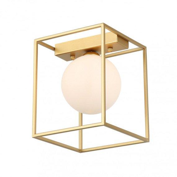 Italux Mediamo Złoty plafon z białym kloszem