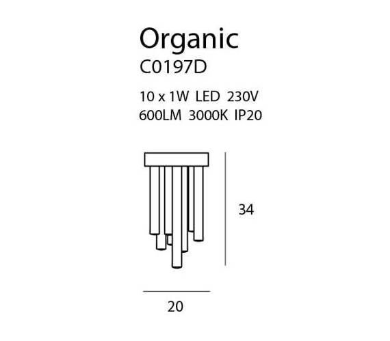 Lampa Sufitowa MaxLight Organic C0116D Miedź
