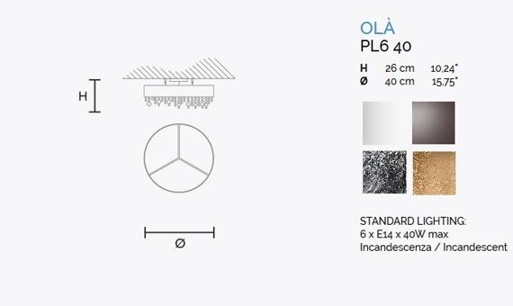 MASIERO Ola Ola PL6 40 Plafon złoty