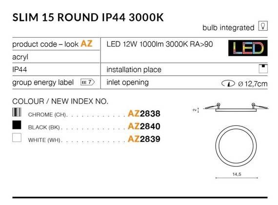 Oprawa Do Zabudowy Azzardo Slim 15 Round AZ2841 Chrom 4000K