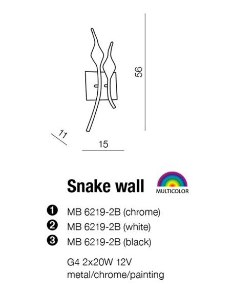 Snake MB 6219-2B Chrome Kinkiet AZZARDO