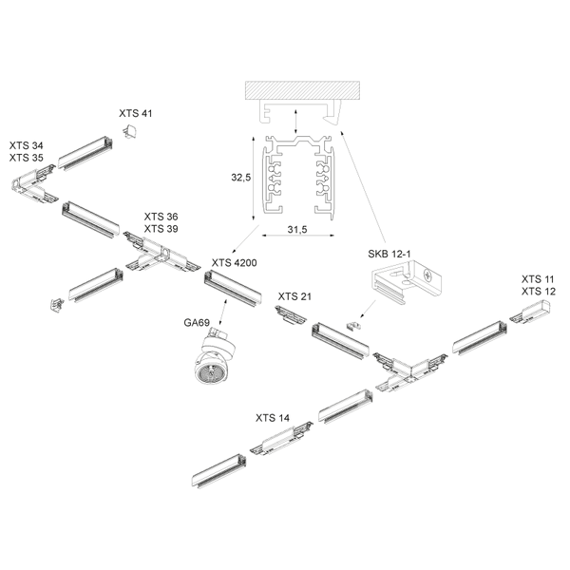 Szyno przewód Global Track Pro 1 m czarny trzy fazowy