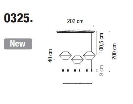 Zwis Wireflow 0325-04 Vibia czarna 202 cm
