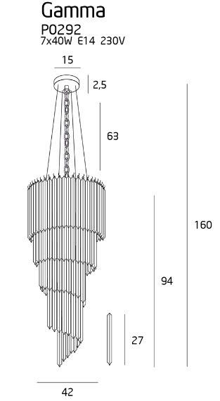 Żyrandol MaxLight Gamma P0292
